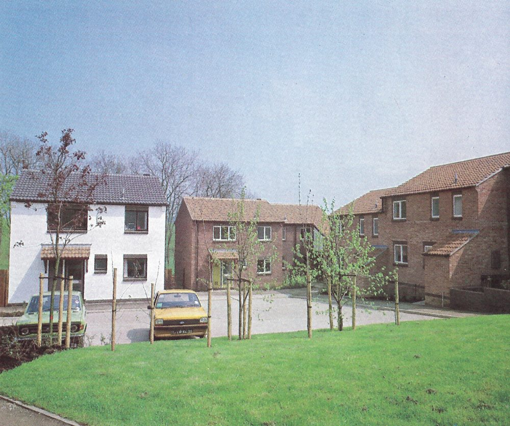 This image shows a private housing development set in the Eastern District. There is a grassy area to the front of the image and some young trees. A yellow car sis in a car park in front of a cream house. Three other brown houses are shown as well.