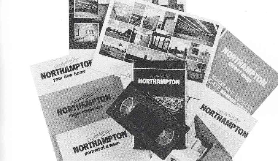 Black and white advertising literature produced by Northampton Development Corporation. There is a video tape, a brochure with images of new housing and the front says 'Expanding Northampton: Portrait of a town'
