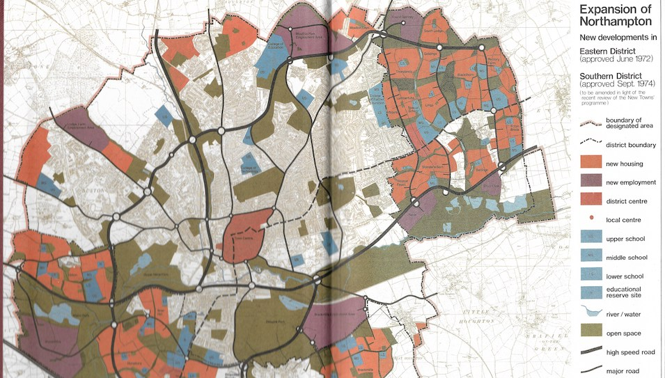 This map was created by Northampton Development Corporation, showing the new areas designated for housing. Th eold town is shown in grey, with coloured areas showing new housing, schools, green space and retail estates.